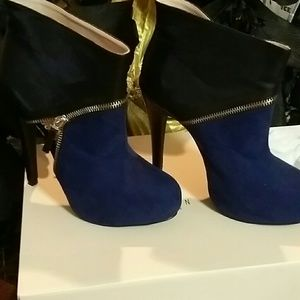 Size 8 Blue/Black Ankle Booties 5inches